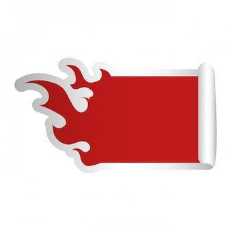 Le fiamme del fuoco modellano l'immagine dell'icona dell'emblema rosso in bianco