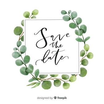 Le foglie dell'acquerello salvano la data