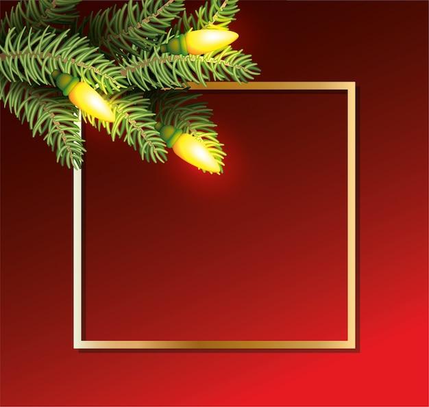 Le foglie di buon natale con le lampadine si accendono nel fondo dorato della struttura