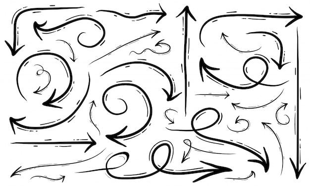 Le frecce creative dell'illustrazione della freccia disegnata a mano di vettore messe hanno isolato il bianco