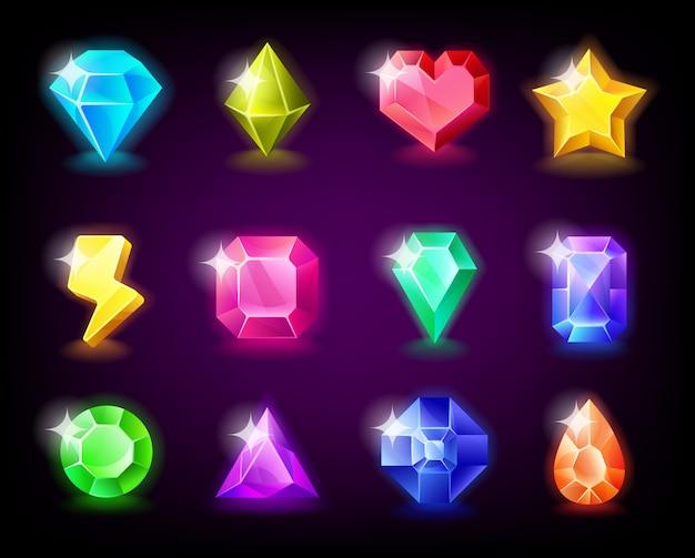 Le gemme di gioielli mettono la pietra magica con le scintille per il gioco mobile