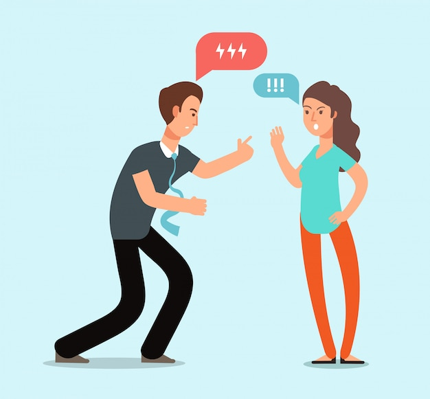 Le giovani coppie arrabbiate dell'uomo e della donna hanno litigio. conflitto familiare infelice, disaccordo nel concetto di vettore di relazione