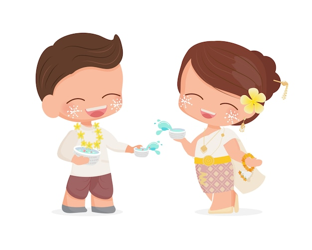Le giovani coppie felici godono del festival tailandese del nuovo anno dell'acqua di songkran nell'illustrazione tradizionale del vestito