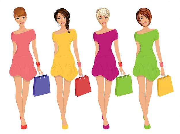 Le giovani figure moderne di acquisto sexy delle ragazze con le borse di modo di vendita