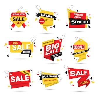 Le grandi insegne di vendita hanno messo la raccolta delle etichette del modello di offerta speciale isolata