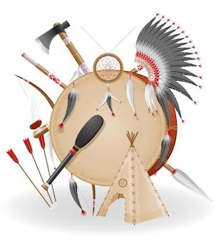 Le icone americane di concetto di indiani vector l'illustrazione