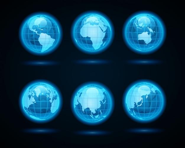 Le icone astratte della luce al neon della terra del globo hanno messo gli elementi di progettazione per progettazione di infographics.