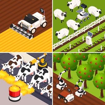 Le icone astute di concetto dell'azienda agricola hanno messo con l'illustrazione isolata isometrica di vettore degli animali da allevamento