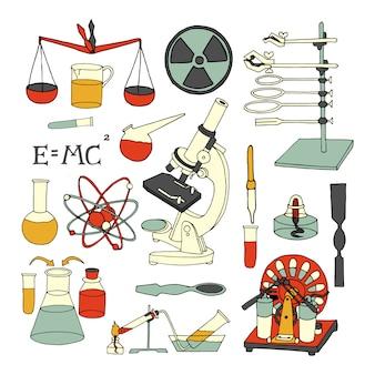 Le icone colorate decorative decorative decorative di schizzo di chimica e di chimica messe hanno isolato l'illustrazione di vettore
