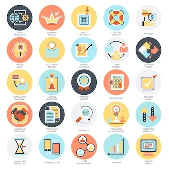 Le icone concettuali piane hanno messo di fare gli elementi di affari, soluzione per i clienti.