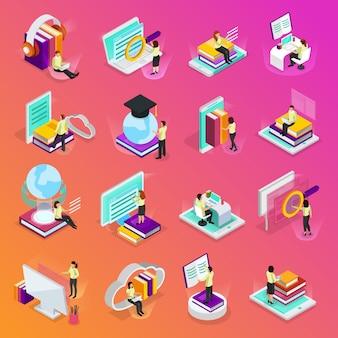 Le icone d'ardore isometriche di apprendimento online hanno messo dei tutorial per i corsi online di audiolibri di istruzione a distanza isolati
