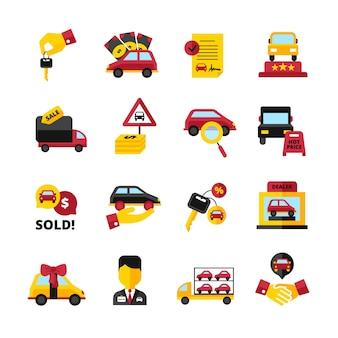 Le icone decorative piane del concessionario auto hanno messo con l'illustrazione di vettore isolata contratto del commesso della stretta di mano di chiavi dei veicoli