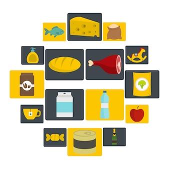 Le icone degli alimenti di navigazione del negozio hanno messo nello stile piano
