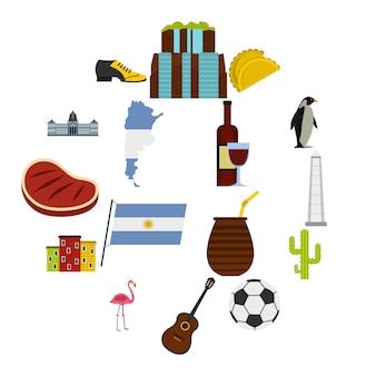 Le icone degli oggetti di viaggio dell'argentina hanno messo nello stile piano