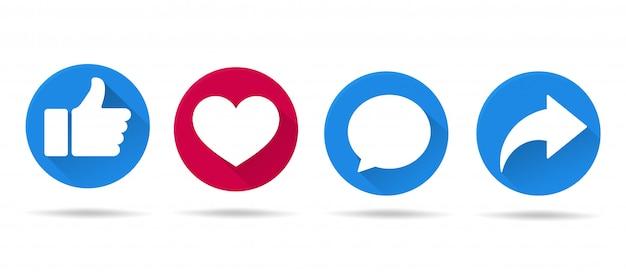 Le icone dei pulsanti piacciono sui siti di social media in una lunga ombra che sembra semplice.