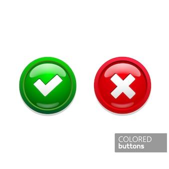 Le icone dei pulsanti rotondi verde e rosso a colori confermano e rifiutano. bottoni in vetro su sfondo nero