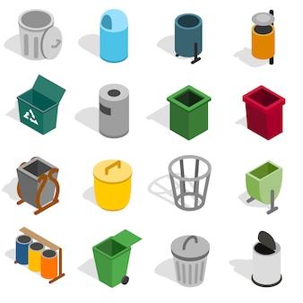 Le icone del bidone della spazzatura hanno messo nello stile isometrico 3d isolato su fondo bianco.