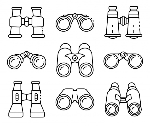 Le icone del binocolo hanno fissato, descrivono lo stile