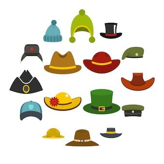 Le icone del cappello del copricapo hanno messo nello stile piano