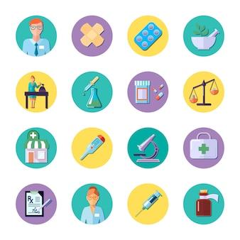 Le icone del cerchio colorate attrezzatura di scienza e della farmacia hanno messo isolato nell'illustrazione piana di vettore di stile