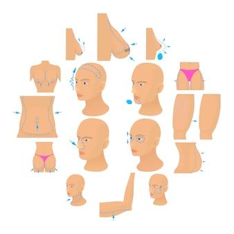 Le icone del chirurgo plastico hanno messo il corpo, stile del fumetto