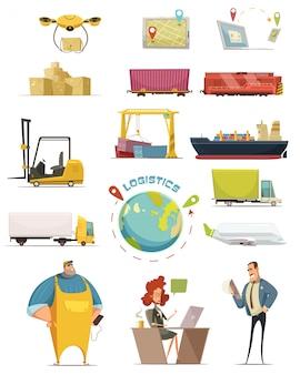 Le icone del fumetto di logistica messe con i simboli del carico hanno isolato l'illustrazione di vettore