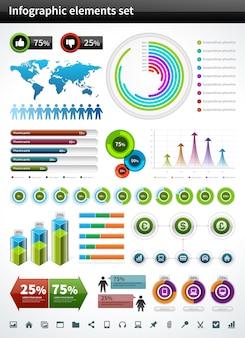 Le icone del grafico di vettore della raccolta di infographics ed i grafici progettano gli elementi e le icone di visualizzazione di dati messe.