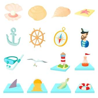 Le icone del mare hanno messo nello stile del fumetto isolato su fondo bianco