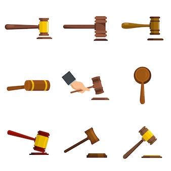 Le icone del martello del giudice hanno fissato il vettore isolato