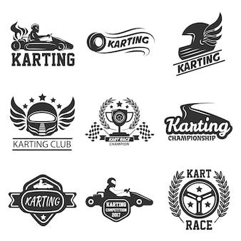 Le icone del modello di vettore di sport delle corse del kart o del club di karting hanno messo