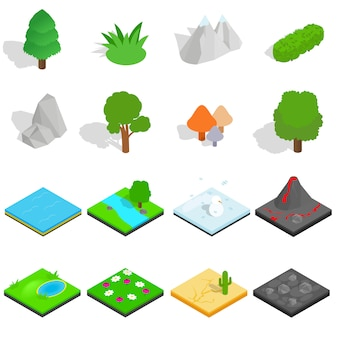 Le icone del paesaggio hanno messo nello stile isometrico 3d isolato su fondo bianco