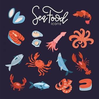 Le icone del ristorante del menu del pesce dei frutti di mare hanno messo piano con l'illustrazione isolata del rotolo delle coperture dei gamberetti del granchio. collezione di icone di frutti di mare disegnati a mano. idea di concetto pesce menu del ristorante