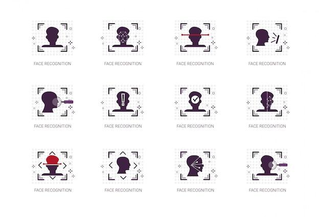 Le icone del sistema di riconoscimento facciale identificano il concetto di identificazione biometrica linea sottile