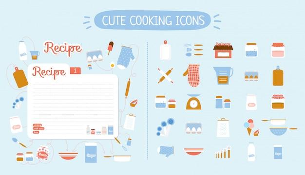 Le icone dell'alimento sveglio hanno messo per il ristorante, il caffè, il forno e gli alimenti a rapida preparazione. illustrazione. isolato. modello di scheda di ricetta.
