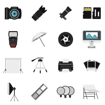 Le icone dell'attrezzatura dello studio della foto hanno impostato