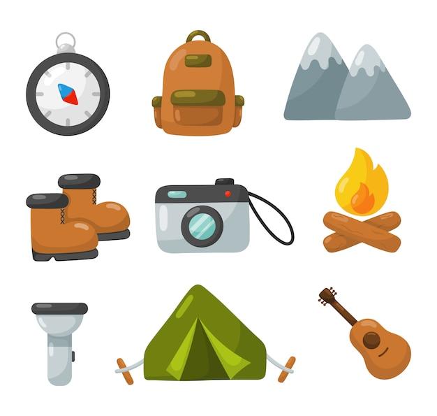 Le icone dell'attrezzatura di campeggio hanno messo isolato su fondo bianco.