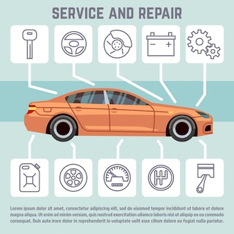 Le icone dell'automobile e delle parti dell'automobile, di servizio e di riparazione vector il modello infographic. banner con automobile