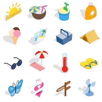 Le icone dell'estate messe nello stile isometrico 3d hanno isolato l'illustrazione di vettore