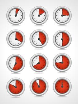 Le icone dell'orologio rotondo di vettore hanno messo isolato su fondo bianco