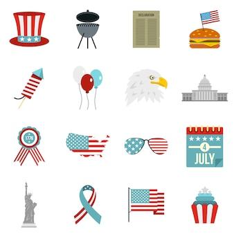 Le icone della bandiera del giorno dell'indipendenza hanno messo nello stile piano