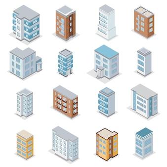 Le icone della costruzione della casa urbana messe con l'illustrazione isolata isometrica del paesaggio della città