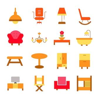 Le icone della mobilia hanno messo l'illustrazione di logo di interior design