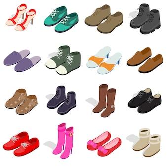 Le icone della scarpa hanno messo nello stile isometrico 3d. le scarpe delle donne e degli uomini hanno messo l'illustrazione di vettore della raccolta