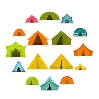 Le icone delle forme di tenda hanno messo nello stile piano