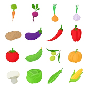 Le icone delle verdure hanno impostato nello stile del fumetto