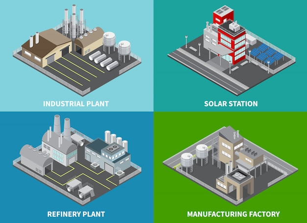 Le icone di concetto dei fabbricati industriali hanno messo con l'impianto di raffineria e la stazione solare isometrici isolati