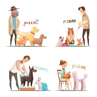 Le icone di concetto del cane messe con camminare e lavare il fumetto di simboli hanno isolato l'illustrazione di vettore