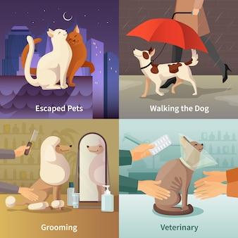 Le icone di concetto del negozio di animali hanno messo con l'illustrazione di vettore isolata piano di simboli governare
