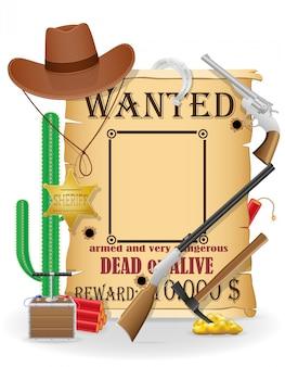 Le icone di concetto di ovest selvaggio del cowboy vector l'illustrazione