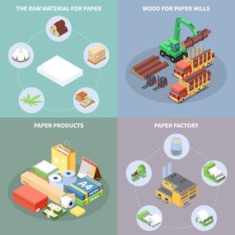 Le icone di concetto di produzione di carta hanno messo con isometrico di simboli di fabbrica di carta isolato